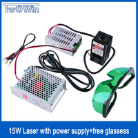 High Power Diode Laser 15W/15000mW Focusable Blue Laser Module 450nm with TTL Driver for laser cutter engraving machine cnc