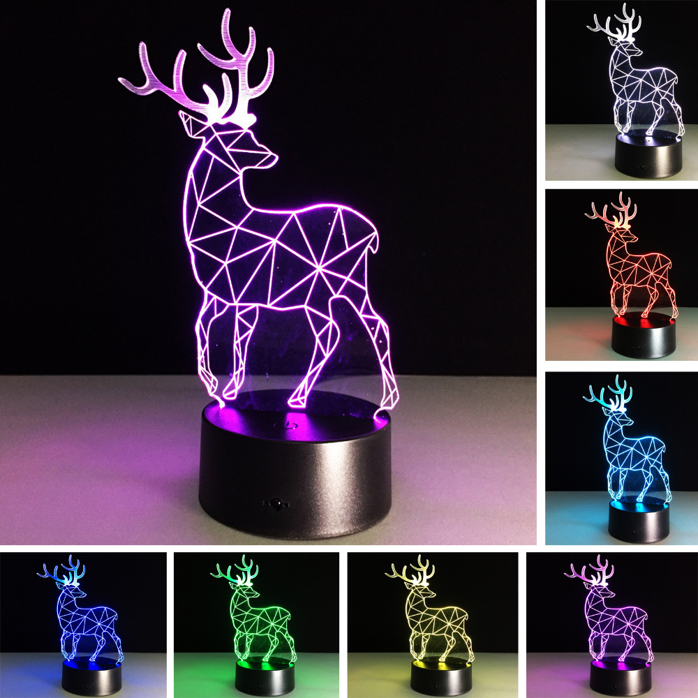 Box Day Kid Baby Novelty Gifts 3D RGB Night Light Christmas Deer Lava Bedroom Office Home Desk Table Lamp Holiday Party Decor free shipping christmas deer table european diy arts crafts home decorative elk wood craft gift desk self build puzzle furniture