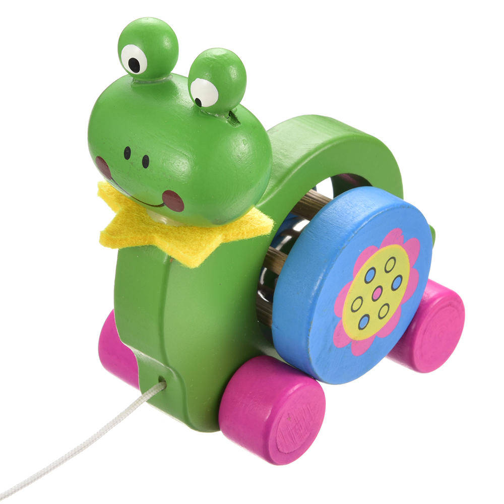 13CM Kids Colorful Wooden Car Vehicles Toy Baby Kids Wood Cartoon Animal Bee Frog Track Car Toys Educational Model Gifts