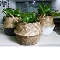 WHISM Seagrasss Dobrável Vaso de Flores Vaso de Flor De Vime Rattan Palha Cesta De Armazenamento Cesta Cesta De Armazenamento Casa Pote Plantador