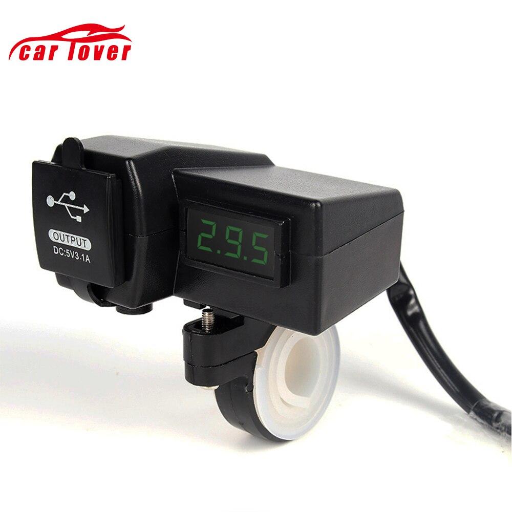 Étanche 3 Dans 1 12 v Moto ATV Scooter LED Affichage Numérique Voltmètre Tension Double USB Puissance Chargeur Allume-cigare