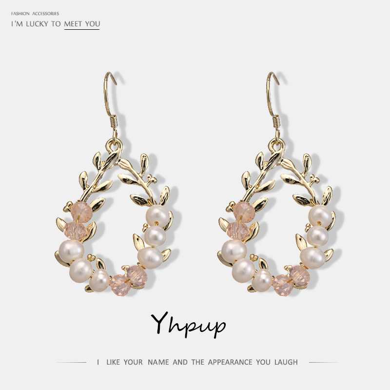 Yhpup Trendy Exquisite Natural Pearls Dangle Earrings Crystal Copper Plant Elegant Chic Earrings S925 for Bride Party Brincos