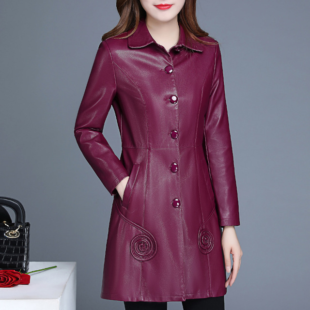Womens Burgundy Black Pu   Leather   Jacket Women Faux   Leather   Long Trench Coat Oversize Overcoat Plus Size 4XL 5XL 6XL