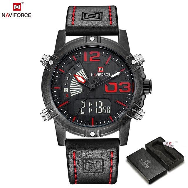 NAVIFORCE Top Brand Luxury Men Leather Military Sport Watches Men's Quartz Analog Led Digital Wristwatch Relogio Masculino Clock