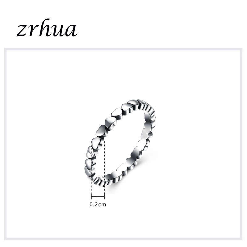 ZRHUA ใหม่ Vintage 925 เงินสเตอร์ลิงออสเตรียคริสตัลหัวใจแหวนหญิงสาวส่วนบุคคลของขวัญ