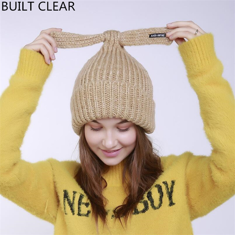 2017 new autumn and winter rabbit ear knit hat winter cute lady wool hat high quality luxury design leisure head cap gift children knitting wool hat cute keep warm rabbit beanie cap autumn and winter hat with earflaps whcn