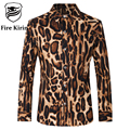 Fire Kirin Mens Leopard Print Shirt Slim Fit Men's Long Sleeve Dress Shirts 5XL Camisa Social Masculina Casual Cotton Shirt T162