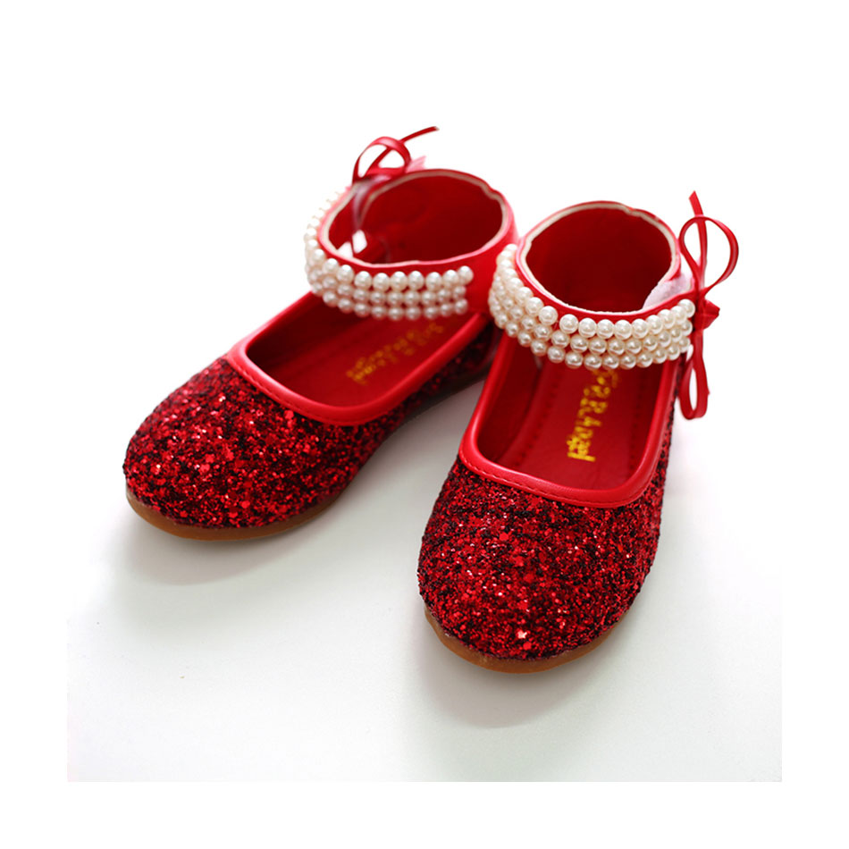 MSMAX Girls Party Shoes Oxford Bling Leather Flat Bead Red Dress Shoes  Children School Shiny Silver Dress Sandals For Girls-in Leather Shoes from  Mother ... ecfebe84c893