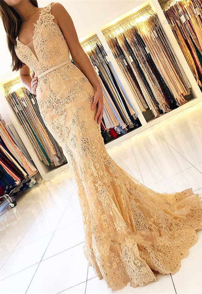 gala jurken Fashionable Mermaid   Prom     Dress   2019 V-neck Sleeveless Yellow Lace Evening   Dresses   Party Gown