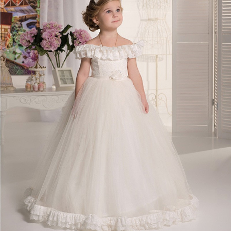 2016 Pageant Dresses For Little Girls Sleeveless Scoop With Flower and Ruffles Ball Gown Kids Evening Gowns Vestidos De Comunion