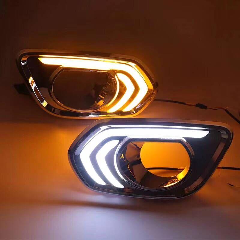 Qirun led white daytime running lights drl yellow flicker turn signal blue night light for Great