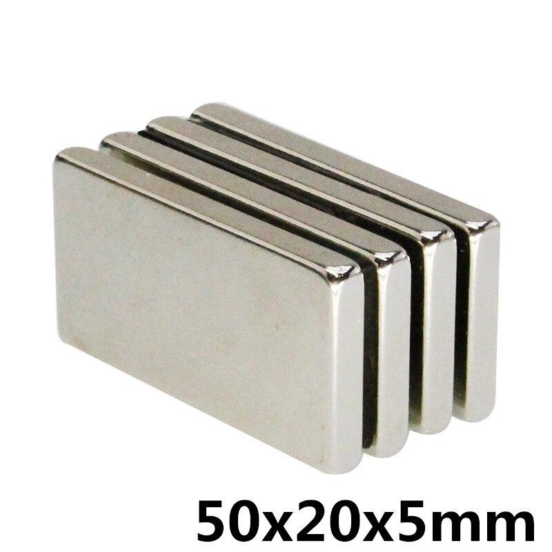 1 Pcs 50x20x5mm N35 Sterke Vierkante Ndfeb Zeldzame Aarde Magneet 50*20*5mm Neodymium Magneten 50mm X 20mm X 5mm