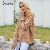 Simplee Cold Shoulder Knitting Pullover Casual Autumn Winter Sweater Women Twist Jumper Hollow Out High Neck