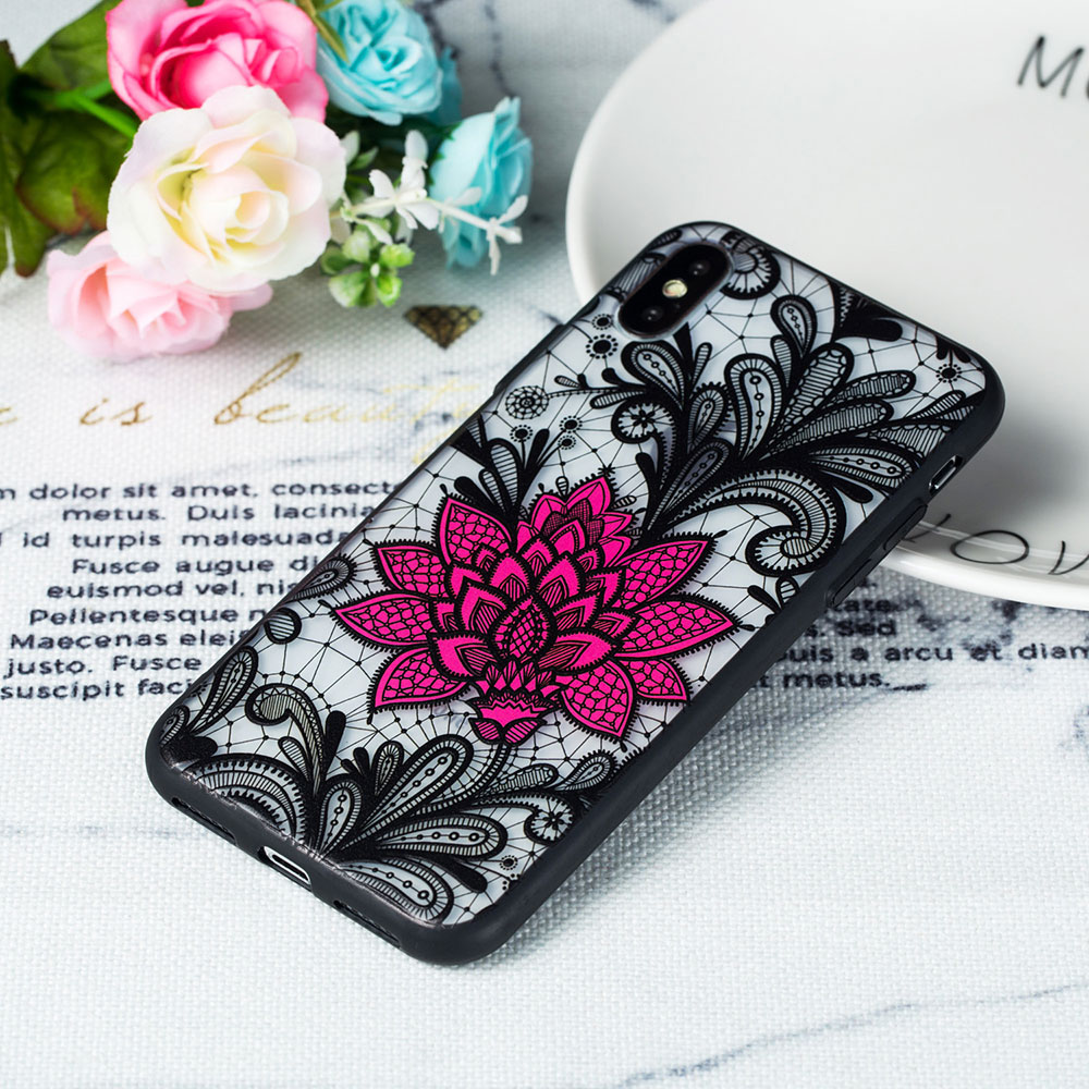 KIPX1059_5_JONSNOW Phone Case for iPhone 5S 6S 7 8 Plus Emboss Floral Rose Lace Protective Case for iPhone X XR XS Max PC Back Cover