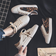 Women Sneakers 2019 Leopard Lady Fashion Shoe Leather Casual Leisure High Quality Woman Shoes Lace Up Spring New Flat Heel 35-40