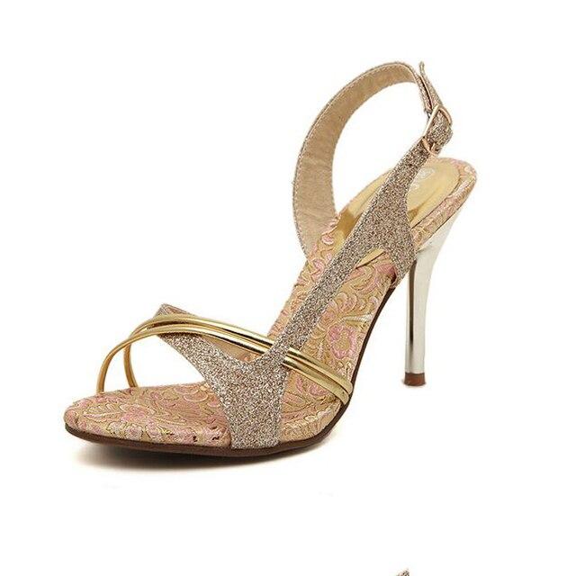 2017 Mujeres del Verano zapatos de las sandalias de Oro Sexy Mujer Elegante Peep Toe Recortes Gladiador de Tacón Alto de Lentejuelas zapatos de tacón alto