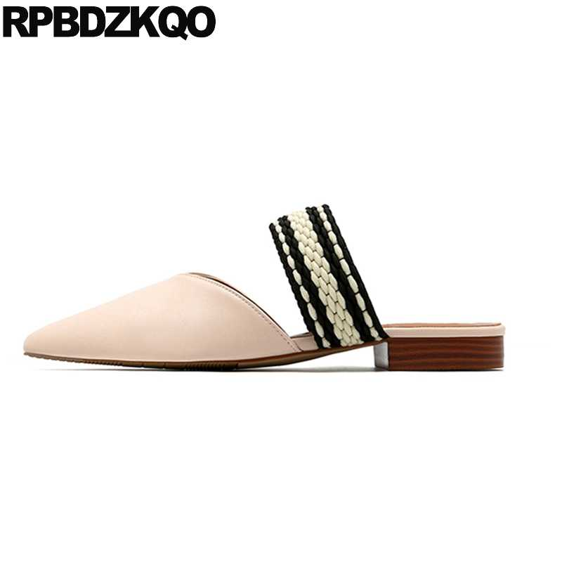 90d6a0d27e2ae Fashion Pointed Toe 2018 Summer Slip On Nude Ladies Sandals Mules Flats  Slippers Shoes Women Slides