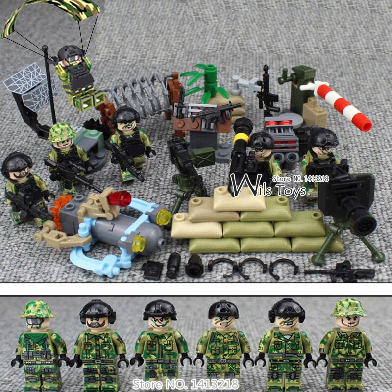 6pcs Navy Seals Team MILITARY US Army UDT WW2 Weapons SWAT Soldiers Mini Building Blocks Bricks Figures Gifts Toys Boys Children 6pcs swat military army riot police officer special weapons minifigures building blocks bricks kid baby boy toys