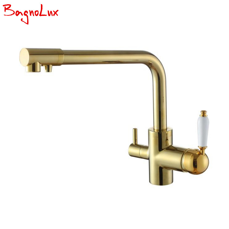 Bagnolux Drinking Water Kitchen Tap Solid Brass Single Hole Double Handle 3 Way Water Filter Round Swivel Spout Sink Mixer Tap