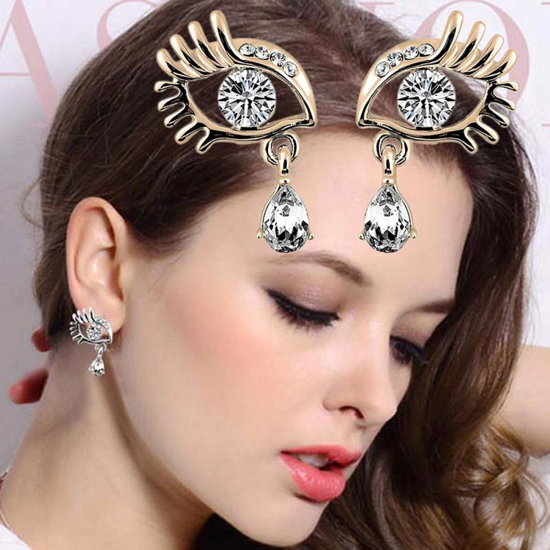 Women S Vogue Eyelash Rhinestone Earrings Party Jewelry Gold Silver Plated Shiny Zircon Crystal Eye Shape In Drop From