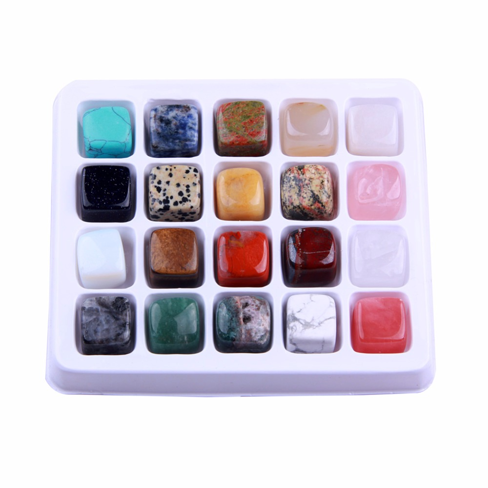 20 шт./компл. природные кристаллы полированная Исцеление Чакра Упали Камни Collection Mixed Рейки Викка 20 мм