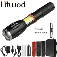 Litwod Z90 1005A Led flashlight torch 8000LM CREE XML L2 Multifunction hidden COB design flashlight tail super magnet design(China)