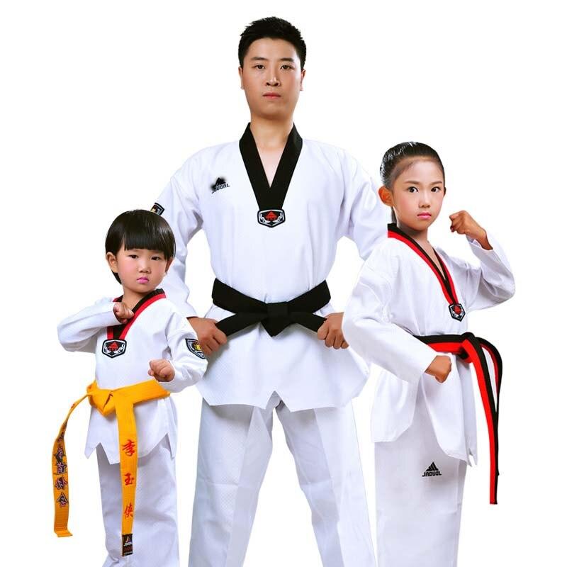 JDUanL 3XS-2XL Long Sleeves Kids Adults Teacher Karate Taekwondo Uniforms W/White Judo Belt Dobok Outfits Suits Clothes 2018 DEO