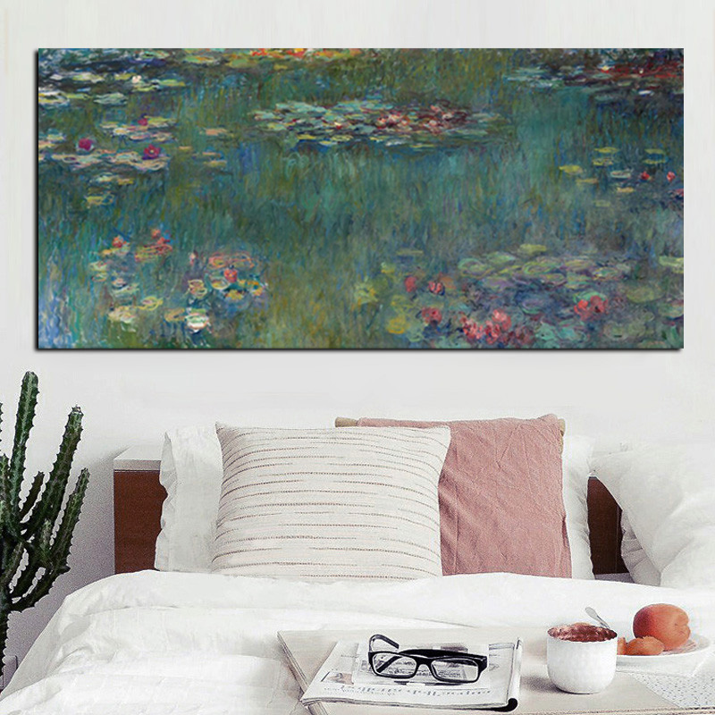 Hot Sale HD Print Monet Oil Painting Lotus Landscape Painting on Canvas Impressionist Wall Art Picture Poster Home Cuadros Decor