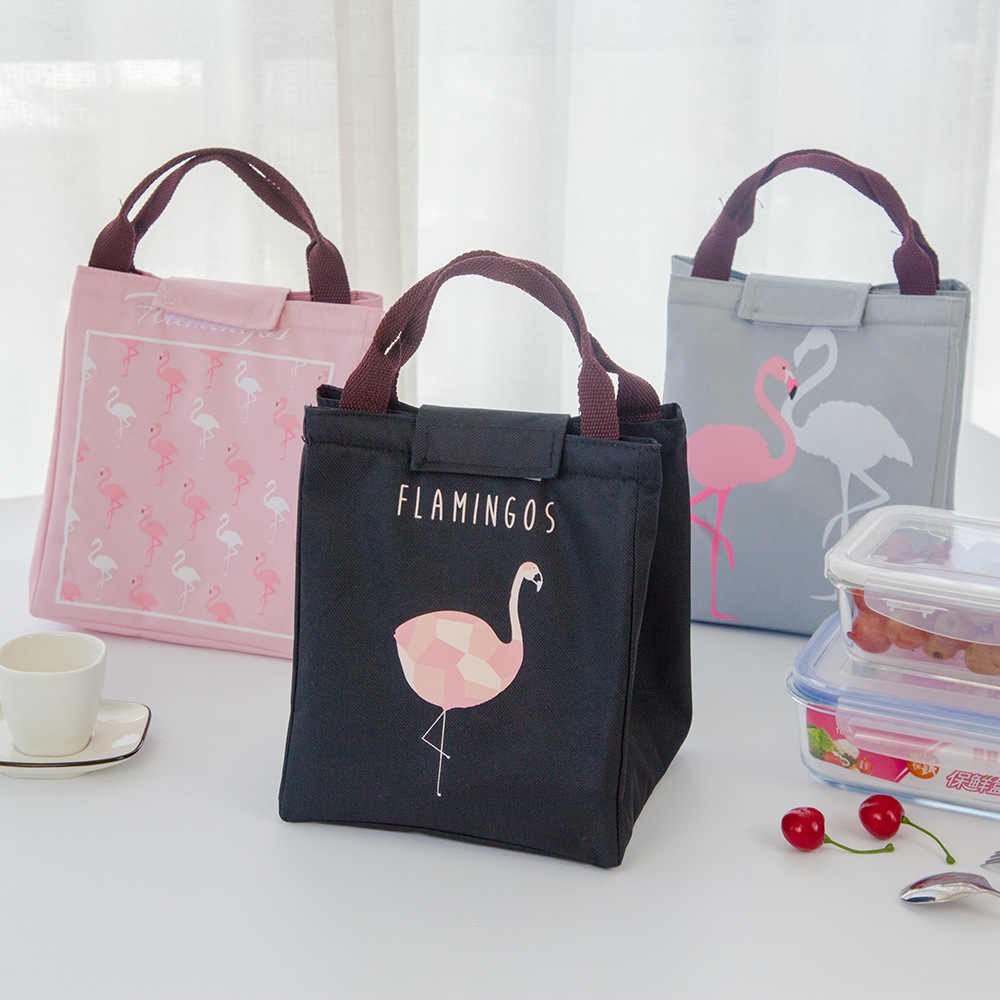 Hoomall Insulated Neoprene Lunchbox Oxford Flamingo Portable Picnic Lunch Bag Tote Handbag Food Container Kitchen Gourmet Pouch