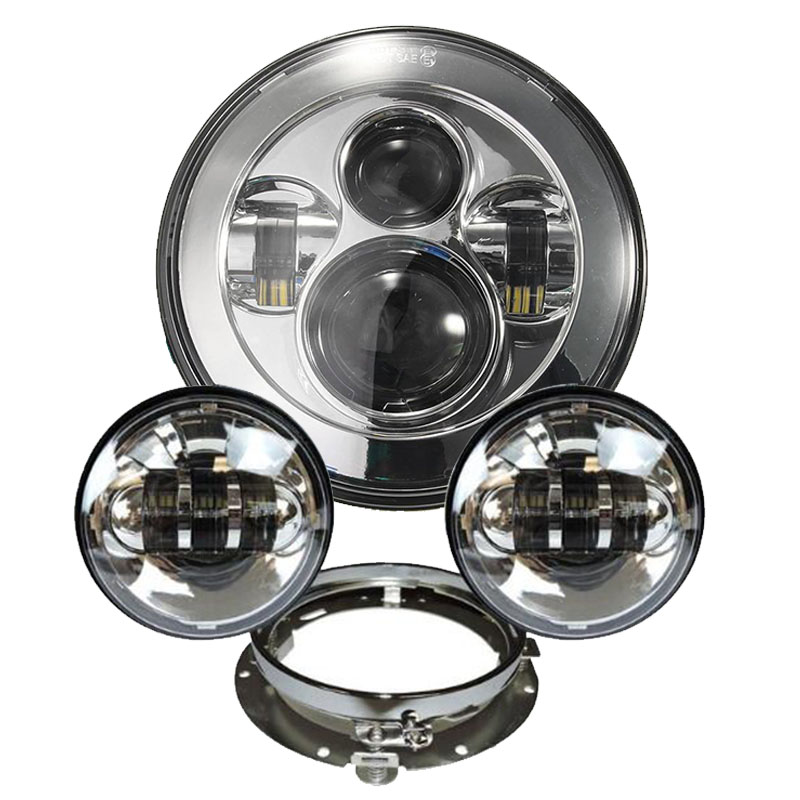 7 LED Daymaker Headlight + 4.5 4 1/2 inch Passing Lights Headlight Harley Motorcycle Parts For Harley Heritage Glide Softail