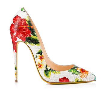 Fashion Sheep Skin Leather Thin High Heel Pumps Women Stilettos Shoes Floral Flower Printed Ladies Office Elegant Wedding Shoe