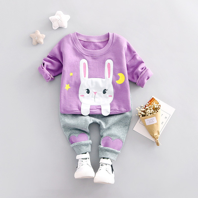 New Baby Boy Girls Clothes 2pc Set Children Clothing Set Cute Cartoon Rabbit Sweatshirts + Pant Kids Clothes For Spring Autumn