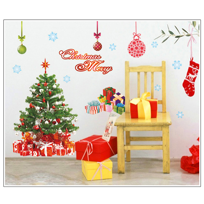 Removable Christmas Gift Santa Claus Wall Stickers Cute