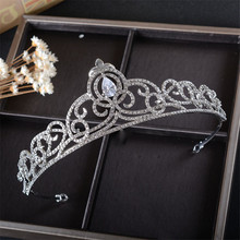 Snuoy Women Head Jewelry Quinceanera Rhinestone Tiara Crown Wedding Bride Hair Accessories Para Mulheres Silver Jewelry HG821