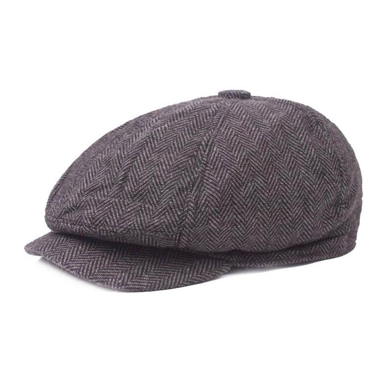 Men's Newsboy Hat Unisex Classic Herringbone Tweed Painter Cap Womens Wool Blend Stripe Caps Adult Hat Cap Autumn Winter
