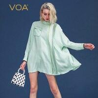 Воа мятно зеленого цвета со Размеры d шелковая Блуза летучая мышь с длинным рукавом Для женщин рубашка Повседневное женские топы свободные