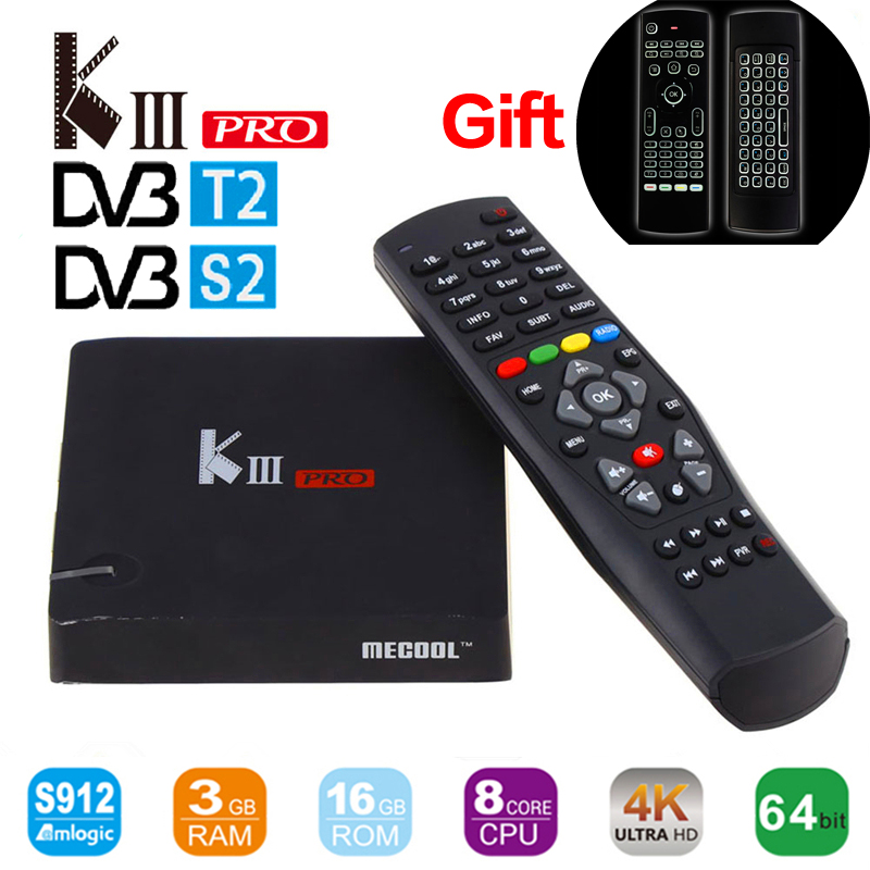 Mecool kiii про dvb s2 dvb t2 android6.0 Smart ТВ Box Amlogic S912 восьмиядерный BT 4.0 3 ГБ/ 16 ГБ 2.4 г/5 г Wi Fi 4 К Smart Media Player