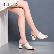 BELISS women sandals leather genuine fashion high heels comfortable ankle wrap summer shoes ladies open toe S5