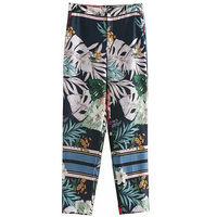 Women High waisted Tropical Flowers Trees Printed Age Reduction Slimming Ninth Pants 2018 Fashion Lady Casual Straight Pants