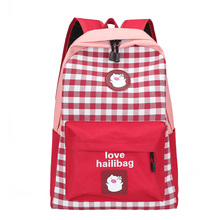 England style Backpack Pig and Grid Contrast Color School Bag For Teenage Girls Leightweight Cotton Leisure or Travel Bag contrast collar and cuff grid dress