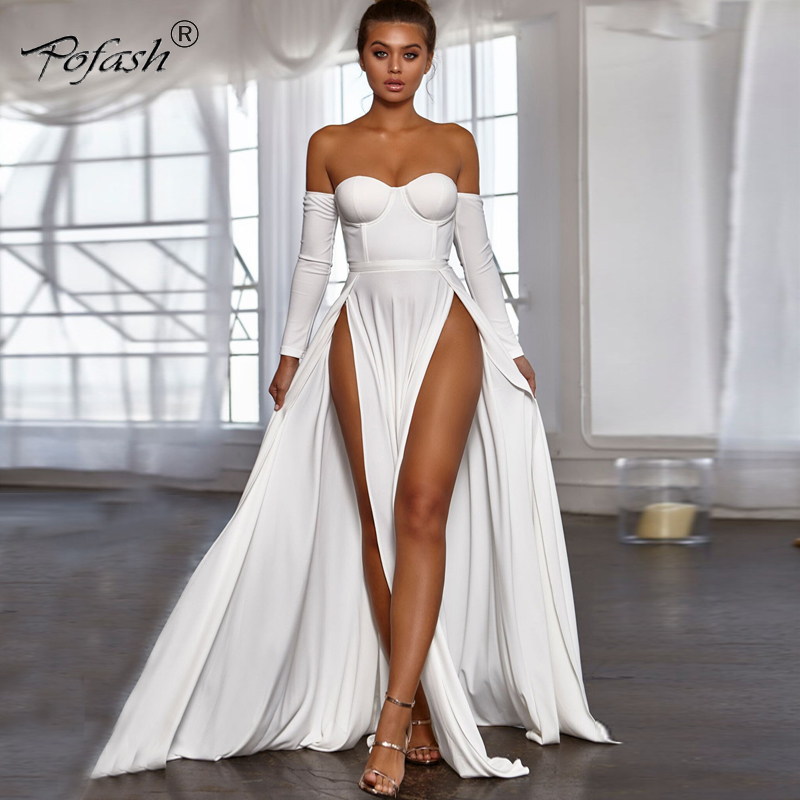 POFASH Women Long Dress Pink Deep V Neck Long Sleeve Sexy High Split Formal Party Ball Gown Party Dress Women 2018 Autumn