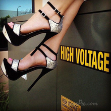 Women Sandals 2016 Peep Toe Caged Heeled Ankle Buckle High Heels Women Shoes Metallic Upper Super Star Shoes Size4-15