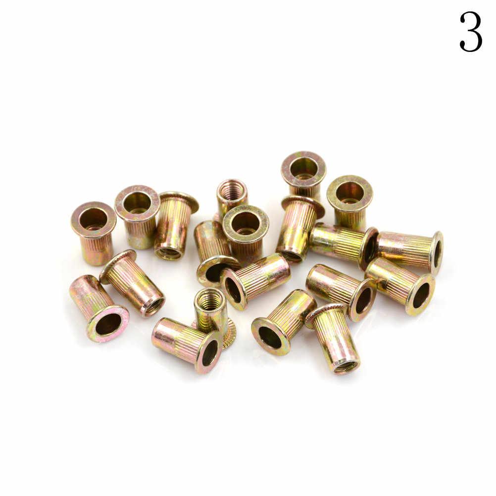 20 adet M3 M4 M5 dişli perçin ekle Nutsert kap somun perçin çinko kaplama karbon çelik tırtıllı somun perçin düz kafa
