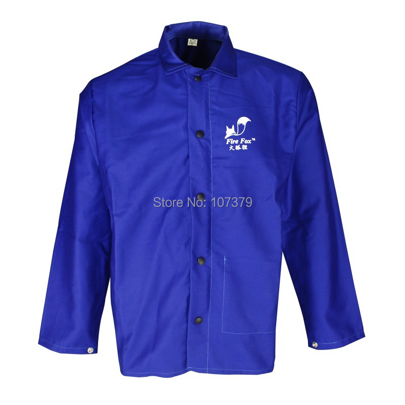Welding Apron FR Cotton Blue Flame Retardant Welder Jacket Pakaian Las