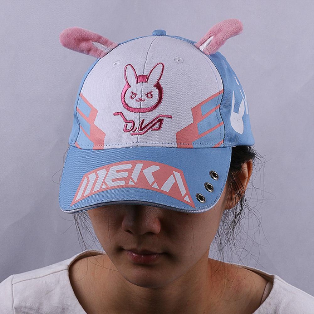 DVA Rabbit Ear Cute Baseball Cap Women Cartoon Printed Lady Hat Japanese Comic Hot Sale D.va Casual Fashion Cap Adjustable (6)