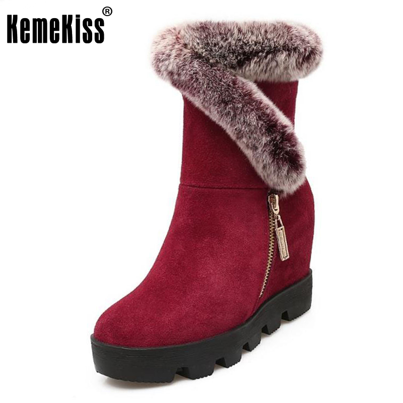 KemeKiss Women Real Leather Wedges Boots Thick Fur Snow Boots Inside Heel Winter Shoes Mid Calf Botas Women Footwears Size 34-39 купить