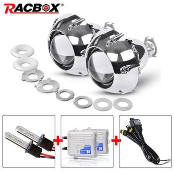 RACBOX 2.5 Inch Mini Bi-xenon Projector Len 55W H1 HID Bulb With GTI Shroud H4 H7 4300K 6000K 8000K For Retrofit Car Headlight