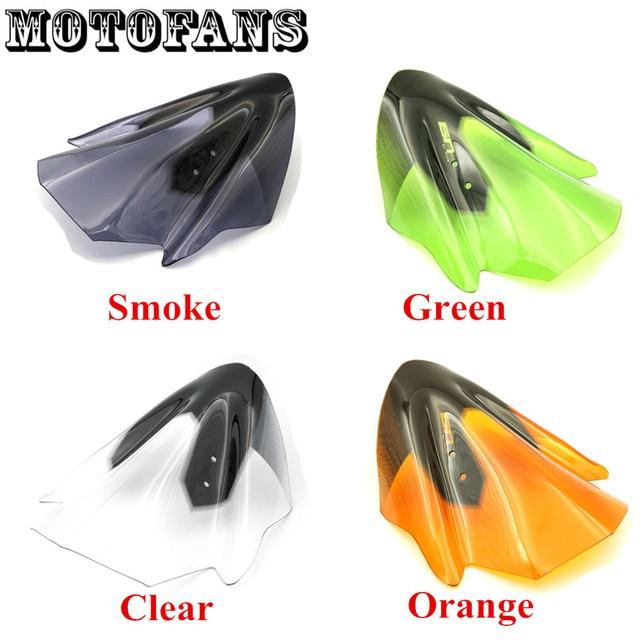 Motofans - Smoke/ Clear/ Green/ Orange Windproof WindScreen for Kawasaki ER6N ER-6N 2012 2013 2014 Racers Windshield with Screws
