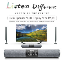 Home TV Soundbar Bluetooth Speaker Portable Wireless Subwoofer 3D Surround FM Radio MP3 MP4 Alarm Clock