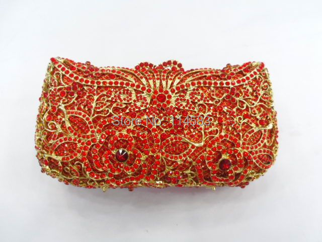 ФОТО #8264 RED Crystal Rose Flower Floral Bridal Party hollow Metal Evening purse clutch bag handbag case
